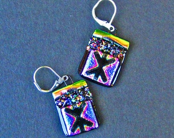 Funky Kiss X - Etched Dichroic Glass - Earrings