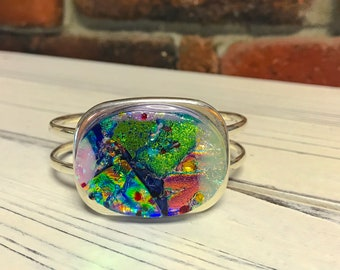 Stunning and BOLD Dichroic Glass Bracelet - Fused Glass Silver Cuff