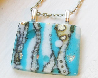 Cyan Blue Cloud Opal Dichroic and Fine Silver - Fused Glass Pendant