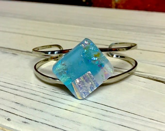 Shades of Blue Mod Dichroic Glass Bracelet - Fused Glass Silver Cuff