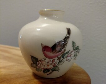 vintage little Lenox Serenade China vase with bird and cherry blossoms made in USA
