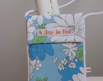 A Day in Bed-Upcycled Small Shoulder Bag, flowers blue green white, recycled, phone bag, travel, cross body bag, daydreaming, 60s