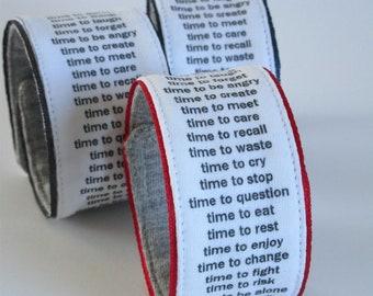 TIMEBAND wristband - black on white, cuff, bracelet, timepiece