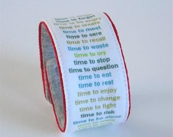 TIMEBAND wristband - greens on white, cuff, bracelet, timepiece