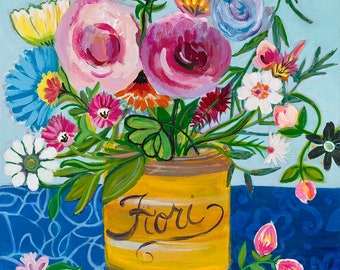 Colorful bouquet of flowers in a Fiori tin giclee art print