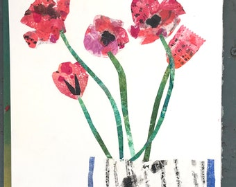 Pink tulips in a striped vase collage print