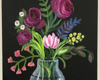 Purple flowers in a glass vase original acrylic painting