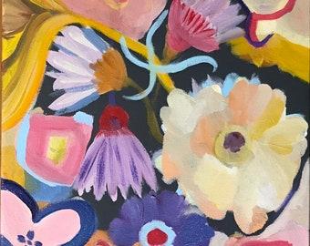 Expressive flowers acrylic painting fine art
