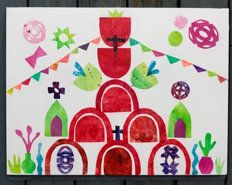 Mexican church on Easter Folkart Art Collage