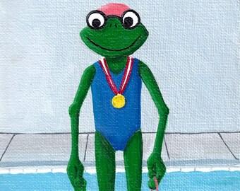 Swim Frog, original acrylic painting on canvas sheet, Froggie