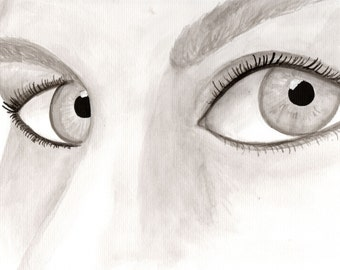 Stare--Original India ink drawing