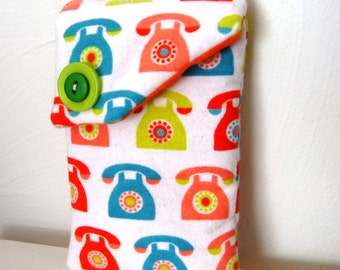 Smart Phone Pouch-Retro Dial Orange Turq Lime, Retro Dial IPhone Pouch, Retro Orange Turq Phone Pouch, Orange Lime Retro Dial Phone Case