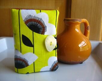 Tea Bag Wallet-White Poppies on Sunny Yellow, Garden of White Poppies Teabag Wallet, Poppies on Yellow Teabag Holder, Bus Credit Card Holder