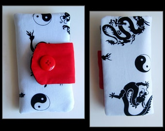 Chinese Black Dragons Yin Yang Red on White Fabric Wallet, Dragons Red White Fabric Case, Chinese Dragons Yin Yang Red White Fabric Wallet