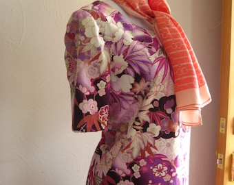 Spring Dress-Orchid Lavender Tropical Print Dress, Vibrant Tropical Dress, Orchid Floral Print Dress