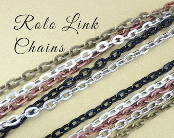 5 OVAL Link ROLO   Link Chains 24 inches Necklaces 2mm Lobster Claw Silver Plated Antique Brass Silver Black Copper . Iron Base . Lead Free