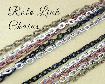 20 OVAL Link ROLO  Chains 24 inches Necklaces 2mm Lobster Claw Silver Plated Antique Brass Copper Black Iron Base Lead and Nickel free