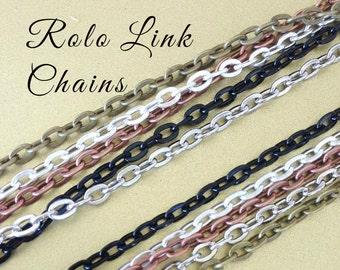10 OVAL Link ROLO Silver Shiny Plated  Chains 24 inches Necklaces 2mm Lobster Claw Black Antique Silver Copper Brass . Iron Base . Lead Free