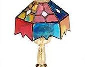 2 Timeless Minis Tiffany Lamp Darice Stained Glass Dollhouse Miniatures 1 x .875