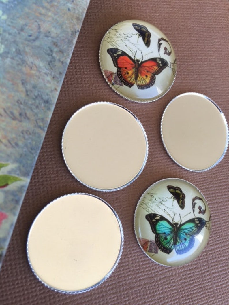 50 Round Bezels Cups Thin SILVER TONED Cups Settings Trays 25mm Brass Magnet Making Photo Insert Hair Accessories Laced Edge