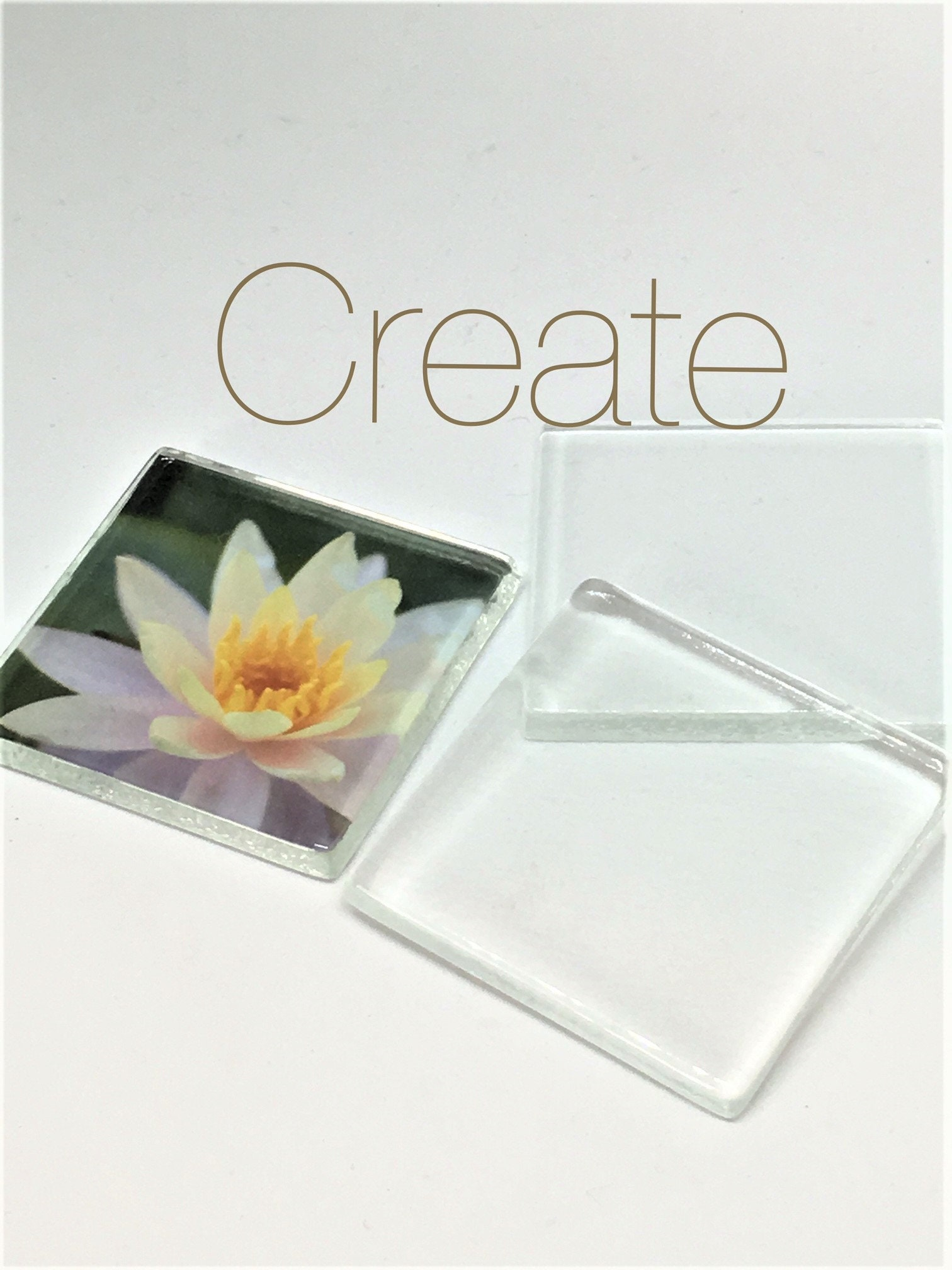 100 Large Keepsake Crystal Clear Glass Squares Photo Magnets Etsy