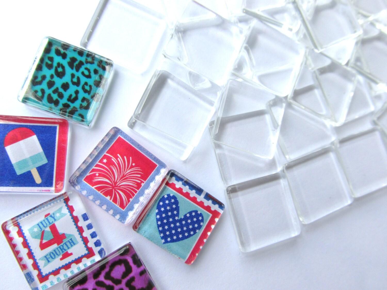 50 piastrelle di vetro 15mm trasparente sottile piazze per etsy - Piastrelle di vetro ...