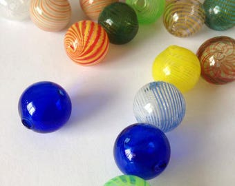 20 Assorted Colors  Handblown Glass Globe Beads 20mm Round Earring Necklace Pendant Making Hand Blown