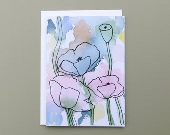 Flower Notecard Set with Envelopes, Set of 6 Cards, Blank Cards, Poppy Greeting Cards, Sustainable Cards