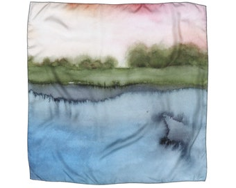 Printed Silk Scarf, Fashion Accessory, Art Print, Pink, Green and Blue Lake Watercolour, Landscape Painting, Square Silk Scarves for Summer