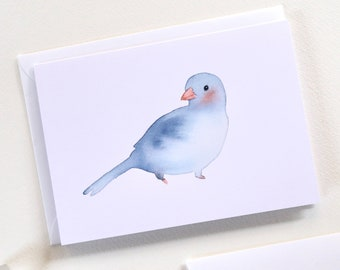 Bird Notecard Set with Envelopes, Set of 6 Cards, Blank Cards, Blue Bird Greeting Cards, Sustainable Cards