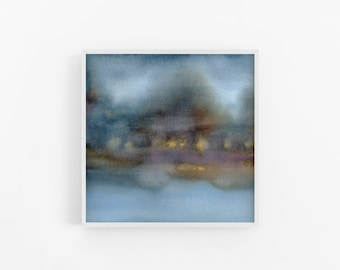 Blue Wall Art, Watercolour Painting, Gold Landscape, Artwork for Walls, Impressionist Painting Original, Home Decor,