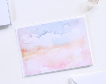 Notecard Set with Envelopes, Set of 6 Cards, Blank Cards, Watercolour Greeting Cards, Sustainable Cards
