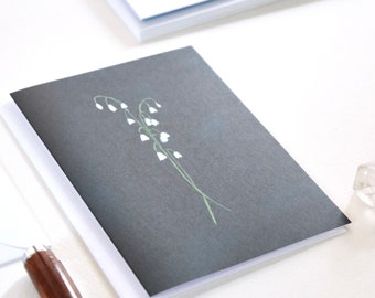 Flower Notecard Set with Envelopes, Set of 6 Cards, Blank Cards, Lily of the Valley Greeting Cards, Sustainable Cards