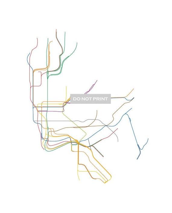 NYC Subway Map LINE ART 16 x 20 Print | Etsy