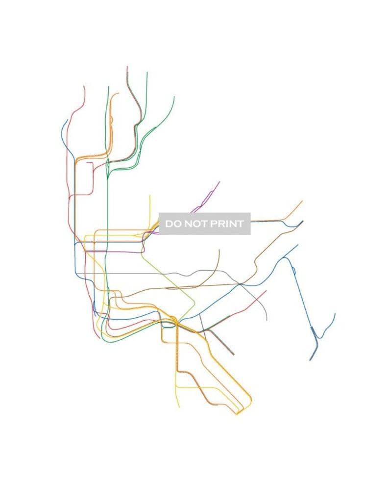 A Line Subway Map Nyc.Nyc Subway Map Line Art 16 X 20 Print