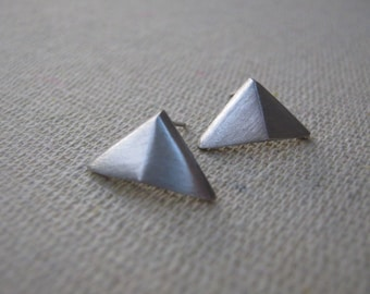 Twin Peaks Triangle Studs in Sterling Silver Posts
