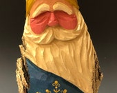 HAND carved original 8 quot tall Santa w ornate painted snowflake from 100 year old Cottonwood Bark.