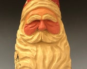 HAND carved original 6 tall curly beard Santa bust from 100 year old Cottonwood Bark.