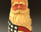 HAND carved original nice size 9 tall rustic Patriotic Santa from 100 year old Cottonwood Bark.