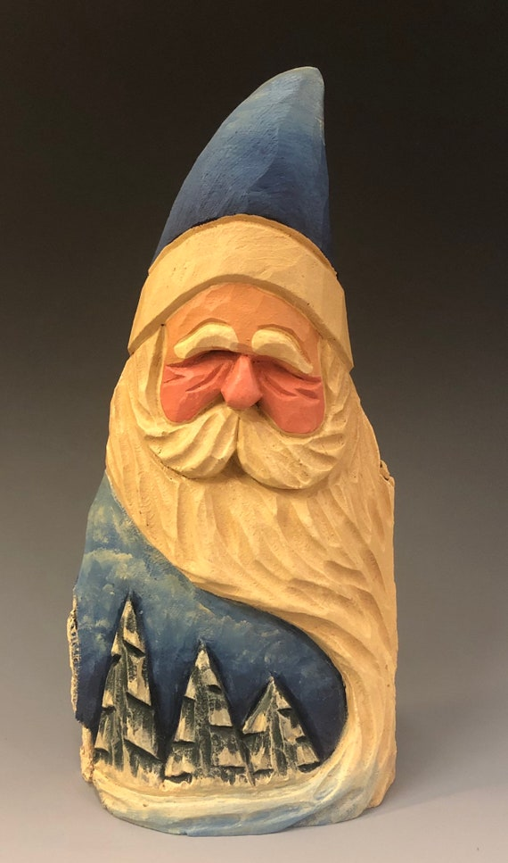 "HAND carved original 8"" tall Santa with trees from 100 year old Cottonwood Bark."