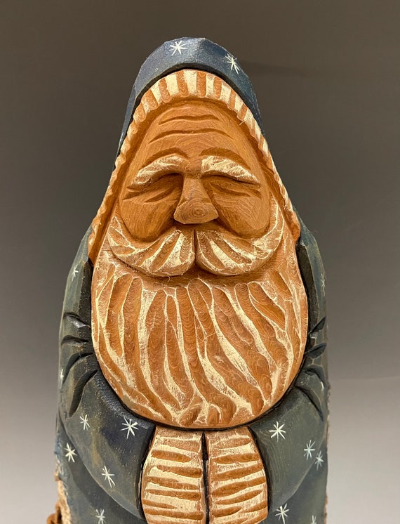 """HAND carved original 10.5"""" tall hooded Santa with oil stains from 100 year old Cottonwood Bark."""