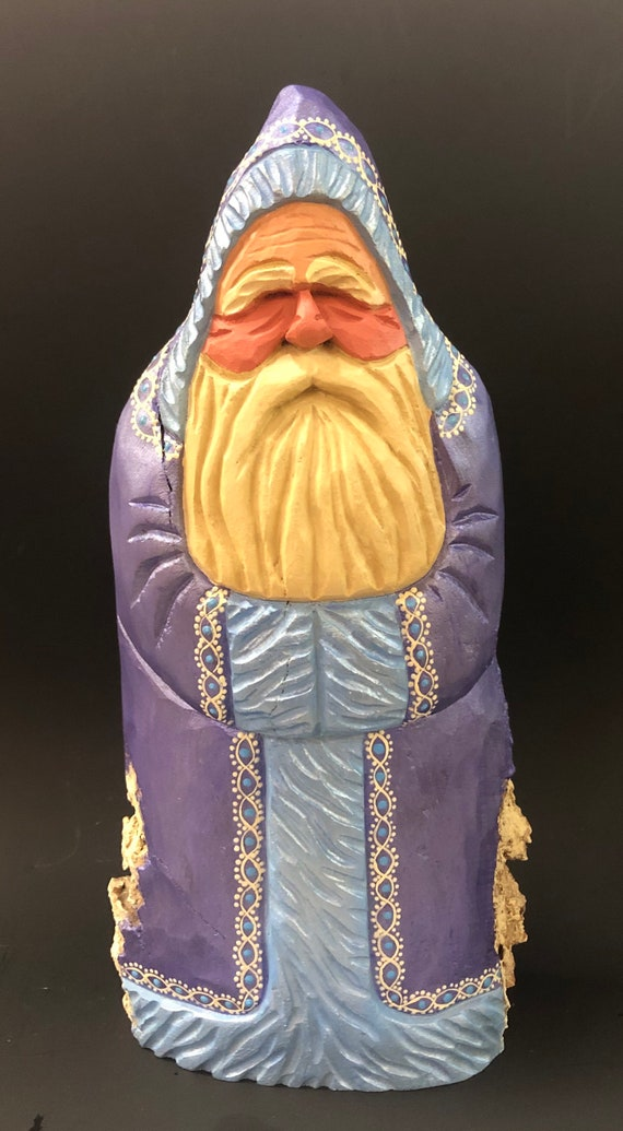 """HAND carved original 10.5"""" tall German style Santa from 100 year old Cottonwood Bark."""