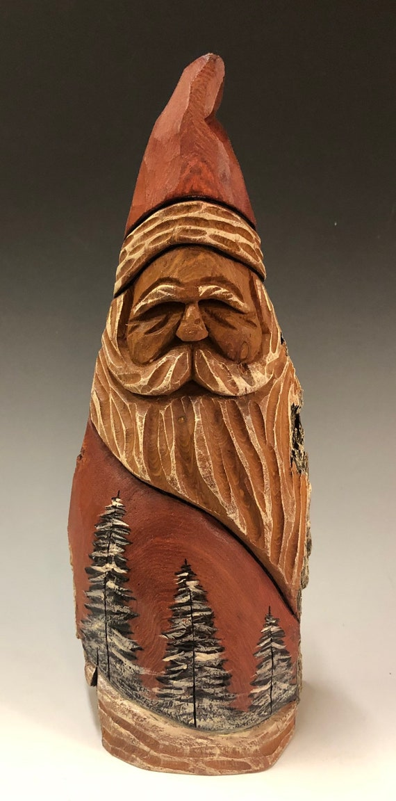 "HAND carved original 9.5"" tall Santa and wood burned trees from 100 year old Cottonwood Bark."