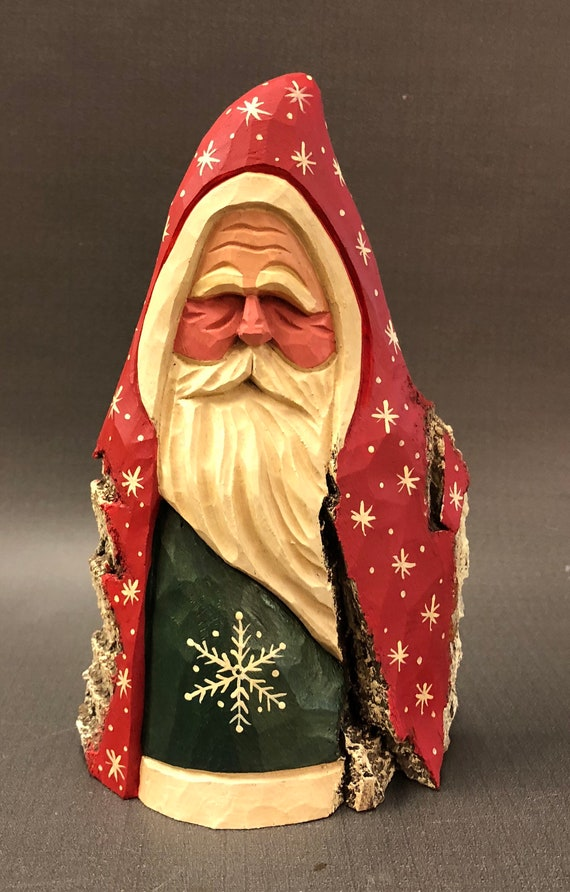 HAND carved original unique rustic Santa from 100 year old Cottonwood Bark.