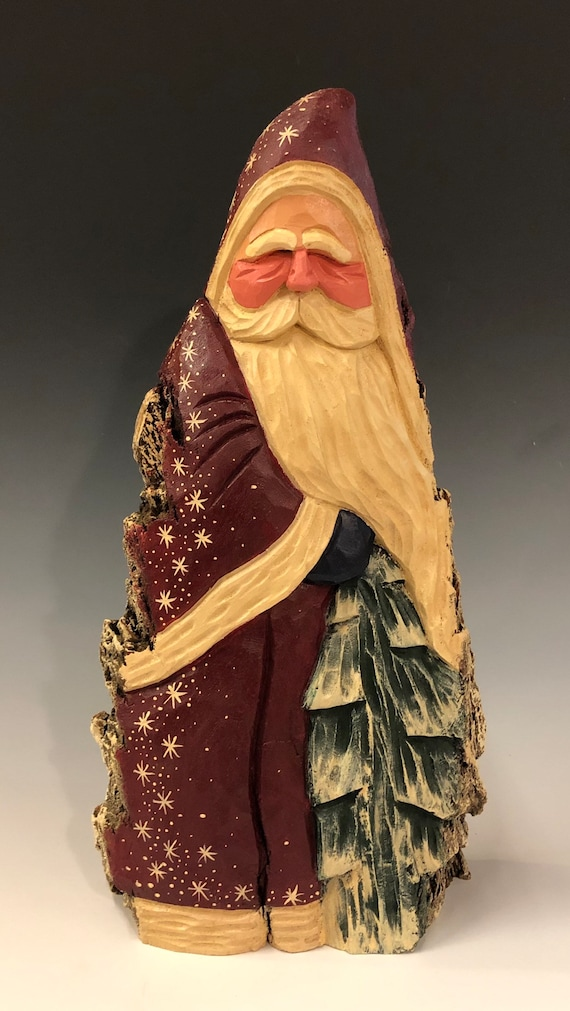 """HAND carved original 12"""" tall hooded Santa w/ tree from 100 year old Cottonwood Bark."""