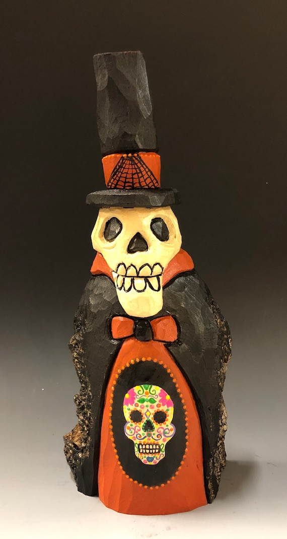 "HAND CARVED original 10"" tall Halloween Skelly w/ painted sugar skull from 100 year old Cottonwood Bark"
