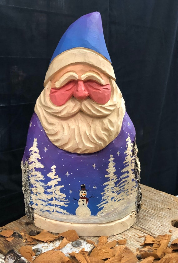 """HAND carved original 8"""" tall Santa with winter snowman scene from 100 year old Cottonwood Bark."""