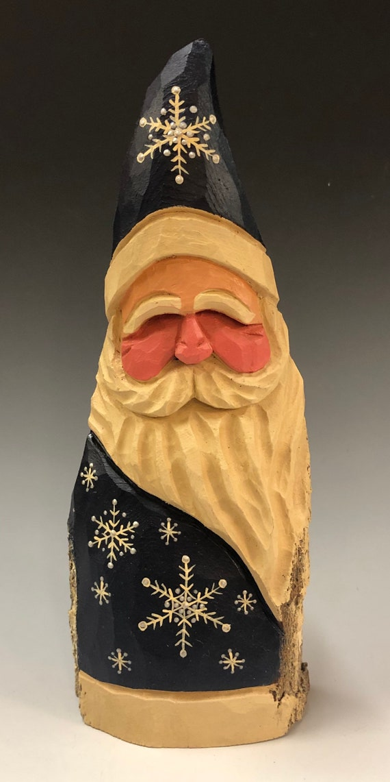 "HAND carved original 9.5"" tall Santa with fancy snowflakes from 100 year old Cottonwood Bark."