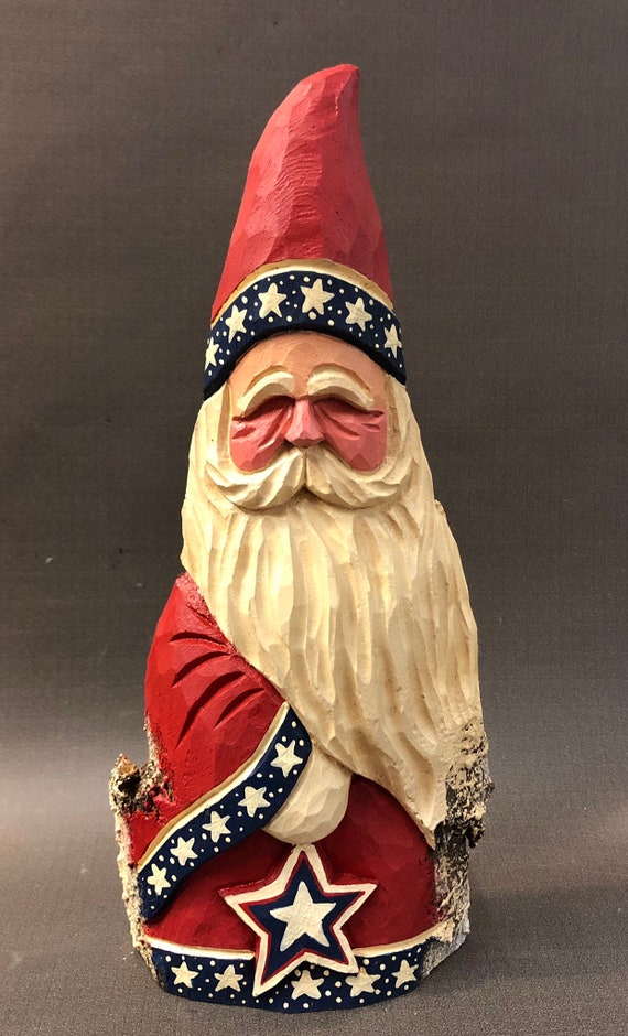 "HAND carved original 11"" tall Patriotic Santa from 100 year old Cottonwood Bark."