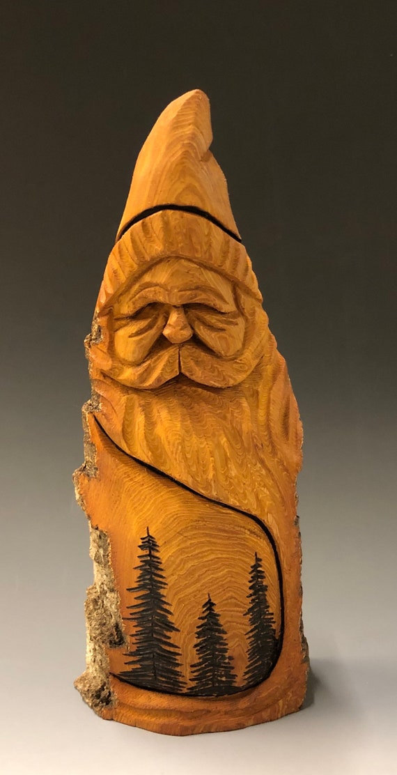"HAND carved original 9"" tall Santa with trees & natural finish from 100 year old Cottonwood Bark."